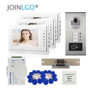 Image 2 - Видеодомофон с ЖК экраном 7 дюймов, система связи с домофоном для квартиры, 2 белых монитора, камера доступа RFID для 2 домашних хозяйств