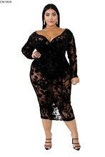 XL-6XL nowy Plus rozmiar jesienno-zimowa sukienka V Neck pełna rękaw Mesh przepuszczalność druku sukienki do połowy łydki Sexy Night Club Party AJ4076
