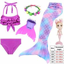 Cinessd 2019 Kids Swimmable Mermaid Tail for Girls Swimming Bating Suit Mermaid Costume Swimsuit can add Monofin Fin