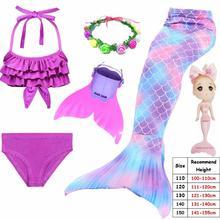 เด็กเด็ก Mermaid หางสำหรับว่ายน้ำ Mermaid หาง Monofin เครื่องแต่งกายหญิง Swimmable ชุดว่ายน้ำบิกินี่ Flipper