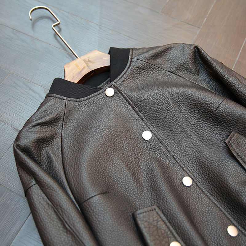 ZURICHOUSE Ruffles Women's Leather Jacket Spring 2020 Fashion Single-breasted Baseball Style 100% Real Sheepskin Coat