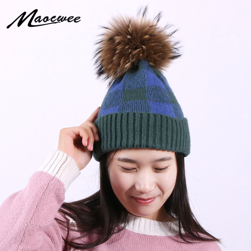 Pompon Hat Skullies Women's Hat Beanie Hat Knit Autumn And Winter Warm Hats Splicing Color Block Unisex Caps Outdoor Fashion