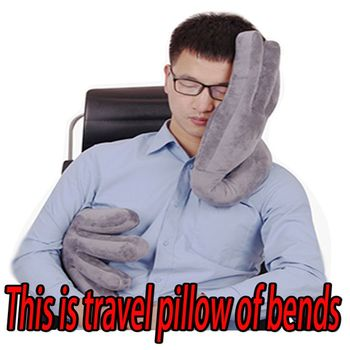 Soft Travel Pillow Bends Airplane Multi-function Car Pillow Hand Shape Neck Comfortable Memory Office Pillows