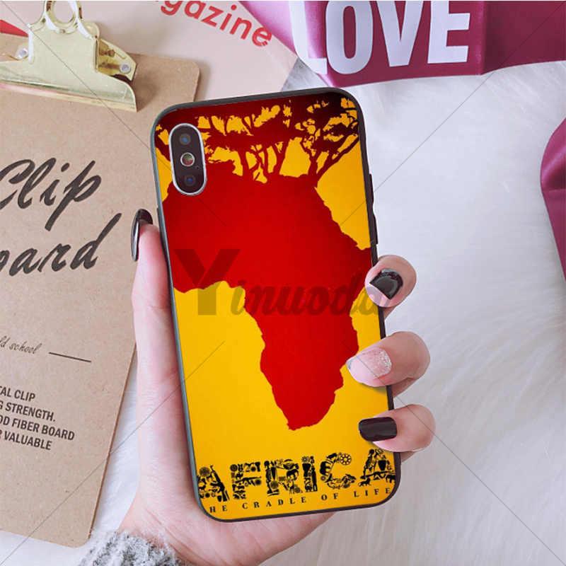 Yinuoda Afrika Kaart Geografie Zachte Siliconen TPU Telefoon Case Cover Shell voor Apple iPhone 8 7 6 6S Plus X XS MAX 5 5S SE XR