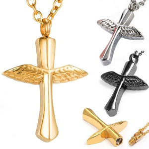 Funeral Angel Wings Cross Memorial Necklace Titanium Steel Urn Vial Pendant Necklace For Ashes Cremation Keepsake Jewelry(China)