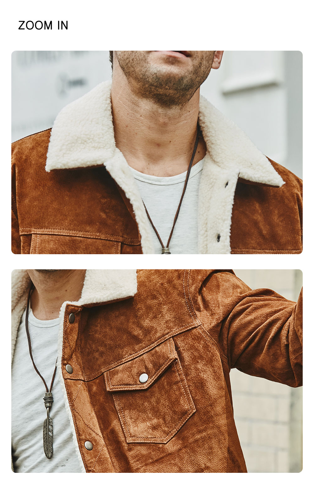 Hcf9b26c20a36411a876bec16ea4440d9U FLAVOR New Men's Real Leather Jacket Genuine Leather With Faux Shearling Warm Coat Men