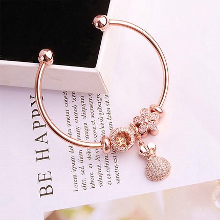 High Quality Original 1:1 100%925 Sterling Silver Rose And Gold Flower Chain Bracelet Free Shipping