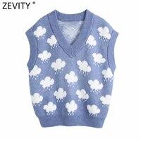 Zevity Frauen Mode V Neck Wolke Muster Stricken Pullover Weibliche Sleeveless Beiläufige Dünne Weste Chic Freizeit Pullover Tops S669