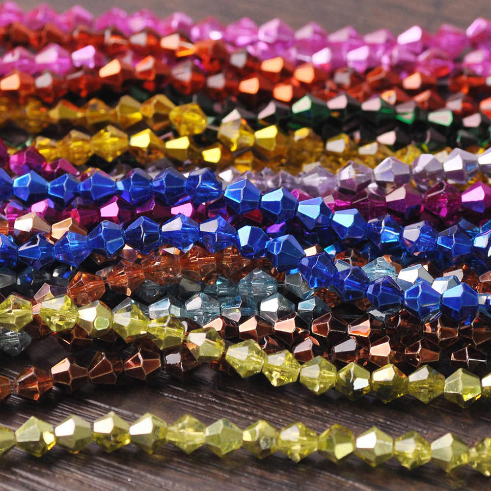 4mm 200Pcs Bicone Crystal Glass Loose Spacer Beads Jewelry Making Wholesale DIY
