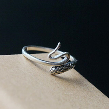 925 Sterling Silver Old Craftsman Handcrafted Individual Trendy Openings Adjustable Serpentine Ring Ladies Accessories