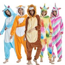 Kigurumi chłopiec dziewczyna piżama jednorożec zima kobiety piżamy Cartoon zwierząt Licorne Onesie piżamy dzieci z kapturem dziecko piżamy kombinezon tanie tanio sumioon Poliester unicorn pajamas Flanelowe Unisex Pasuje prawda na wymiar weź swój normalny rozmiar pijama unicornio