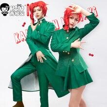 HSIU Anime JoJo dziwaczna przygoda rola peruka Kakyoin Noriaki peruka do cosplay czerwony curl wysokiej temperatury włókna czapka z peruką