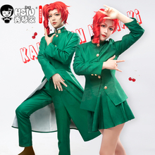 HSIU Anime 조조의 기묘한 모험 역할 가발 Kakyoin Noriaki cosplay 가발 빨간 컬 고온 섬유 가발 모자