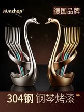 5pcs / 10pcs Fruit Fork Dinner Set Cute European Style Tableware Stainless Steel Fruit Fork Swan Base Cutlery Set