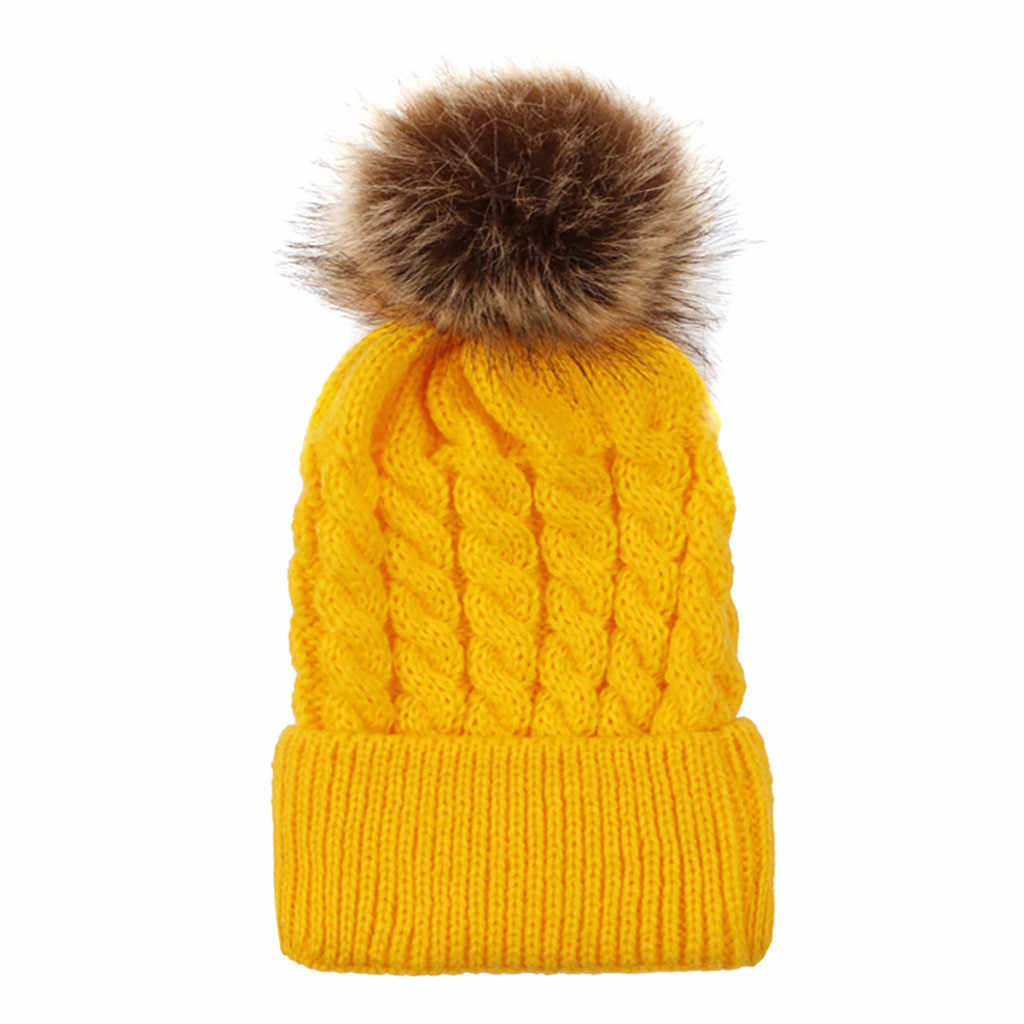 Invierno niños sombreros de punto bebé Bola de Pelo gorra de lana bebé linit gorra de Bola de Pelo niños sombreros niños sombrero Skullies Beanie czapka zemowa