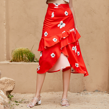 French Style Ruffle Skirt High Waist Layered Skirt Womens Split Skirt for Women Plus Size Summer Skirt Flower Red Trendy Skirt self belt ruffle waist high split skirt