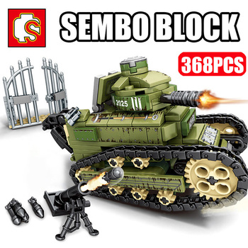 SEMBO Military Renault FT17 WW2 Tank Building Blocks Model Set Army Weapon Soldier Figures Bricks Toys for Children Boys Gifts 524 pcs military technic tank building blocks toys weapon figures ww2 army soldier creator toy educational bricks for children