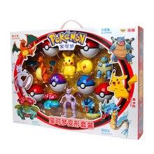 Pokemon toys set Pocket Monster Pikachu Action Figure Pokemon Game Poke Ball Model Charmander Anime Christmas halloween Gift