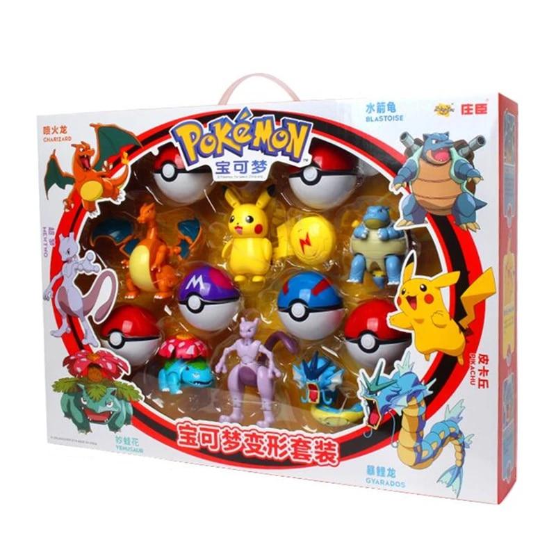 Pokemon Toys Set Pocket Monster Pikachu Action Figure Pokemon Game Poke Ball Model Charmander Anime Christmas Halloween Gift Action Figures Aliexpress