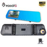 Podofo 4,3 pulgadas coche Dvr cámara automática espejo de visión trasera con doble lente DVR Cámara Full HD 1080P Auto Recorder Dashcam