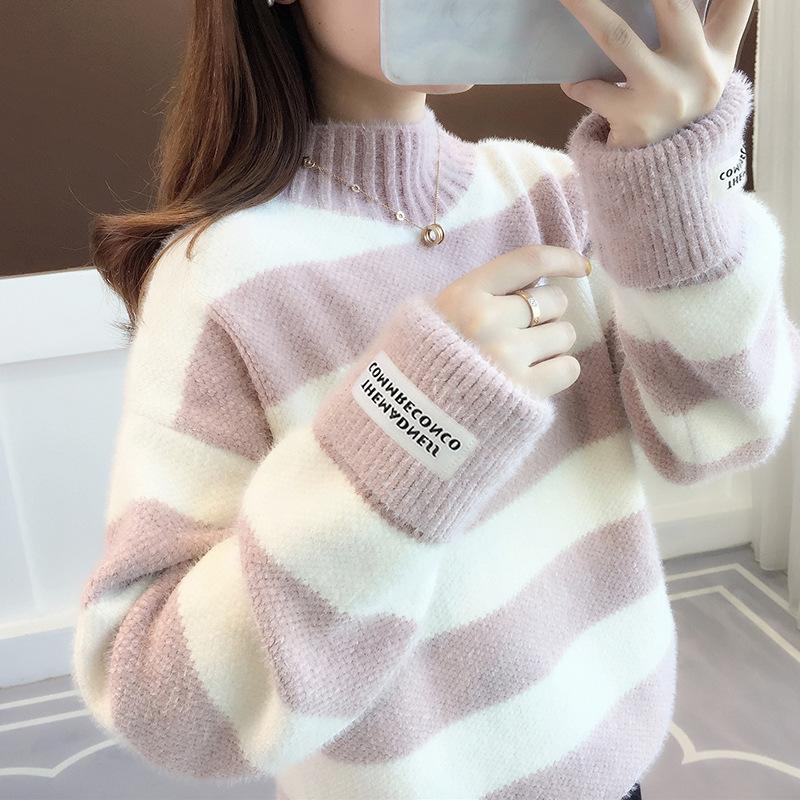 Sweater Women Turtleneck Pullover Jumper Stripe Thick Sweater Imitated Mink Wool Sweater Sweter Women Clothes Vestidos LXJ9005
