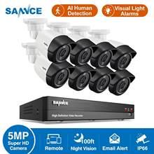 Sannce 8ch 5mp-n super hd sistema de segurança de vídeo h.264 + dvr com 4x 8x 5mp bala ao ar livre à prova dwaterproof água cctv câmera kit de detecção de ia