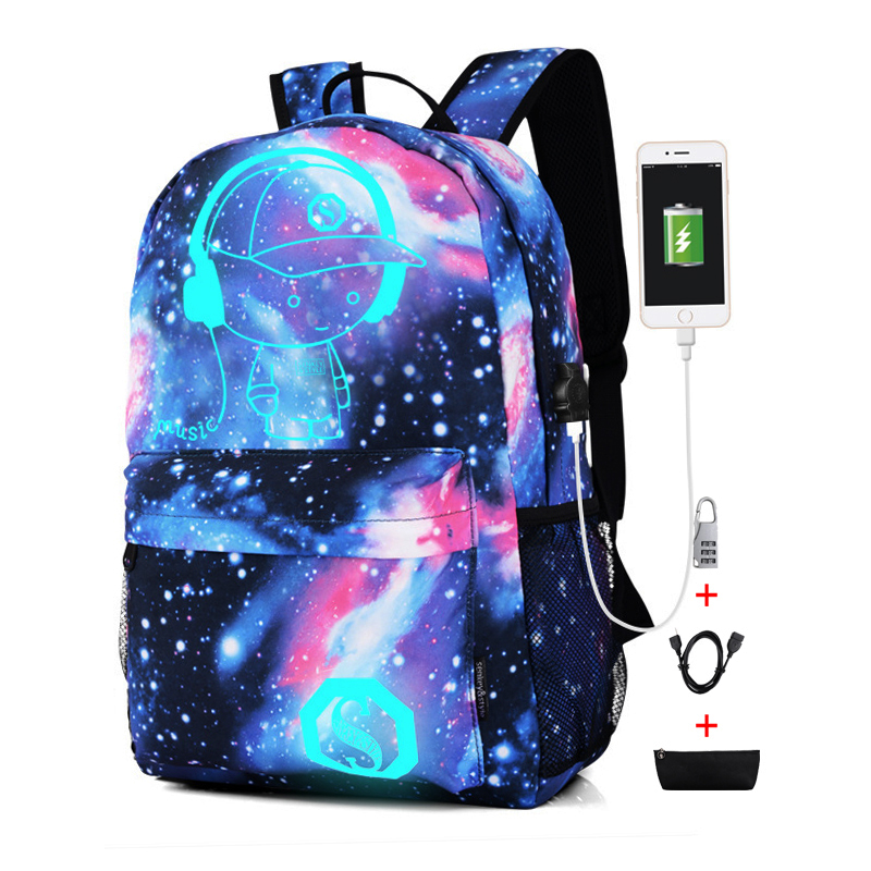 Fashion Luminous Backpack For Men Women Oxford Anti Thief School Bags For Girl Boy Student Cute USB Charge Laptop Knapsack
