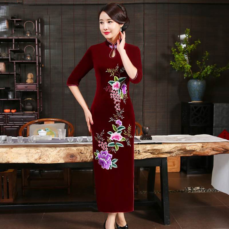 Evening Party Dress Young Lady Chinese Traditional Mandarin Collar Qipao Half Sleeve High Split Cheongsam Large Size Vestidso