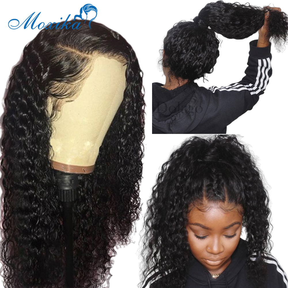 Brazilian Water Wave Wig Pre Plucked Curly Lace Front Human Hair Wigs With Baby Hair 13*4 Lace Front Wigs 150 Density Moxika title=