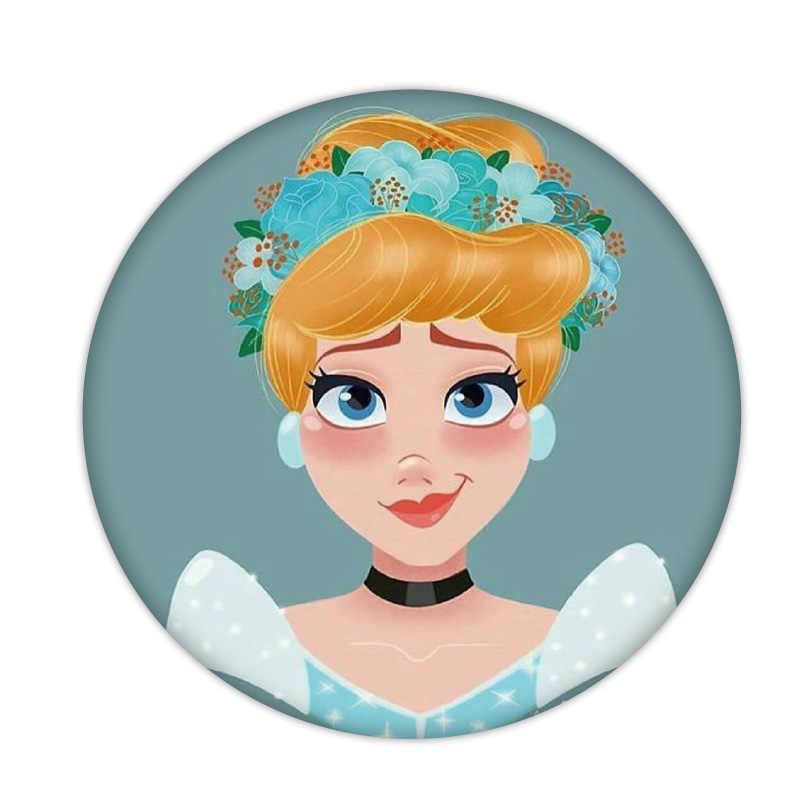 1PCS Cinderela Princesa Tiana Emblemas Broche Meninas Trinket Artesanato De Plástico De Fadas Mochila Cosplay Prop Para Presente de Aniversário