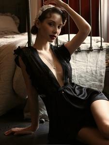 Image 5 - Sexy Women Deep V Lace Nightgown Brand High Quality Net Yarn Female Sleepwear Pure White Night Wear Nightgowns Women Night Dress