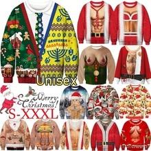 Новые Модные осенние и зимние рождественские костюмы, Забавный Рождественский 3d цифровой принт, круглый вырез, повседневный Уродливый Рождественский свитер