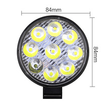 9-LED 3030 Light Waterproof Off-Road Round Work Lamp 6000K With Mounting Bracket