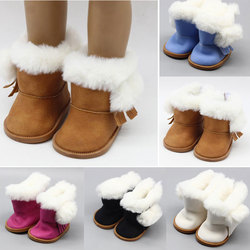 1 Pair Plush Doll Winter Snow Boots For 43cm Baby Doll And 18 Inch Girl Doll Mini Shoes For Christmas Gift