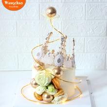 Лидер продаж Золотой шар Топпер украшение для торта «С Днем Рождения» романтический свадебный Топпер для торта сладкие вечерние принадлежности