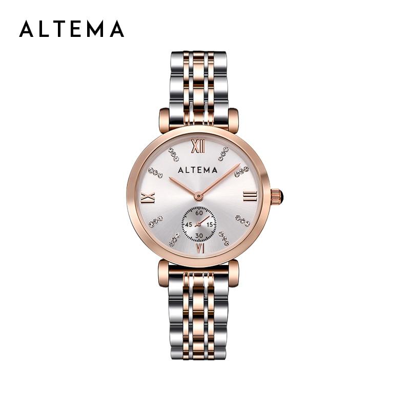 Altema Luxury FashionWomen Watches Quartz Wrist Lady Watch Stainless Steel Band Dress Gift Watch Women Gold Watch Reloj Mujer