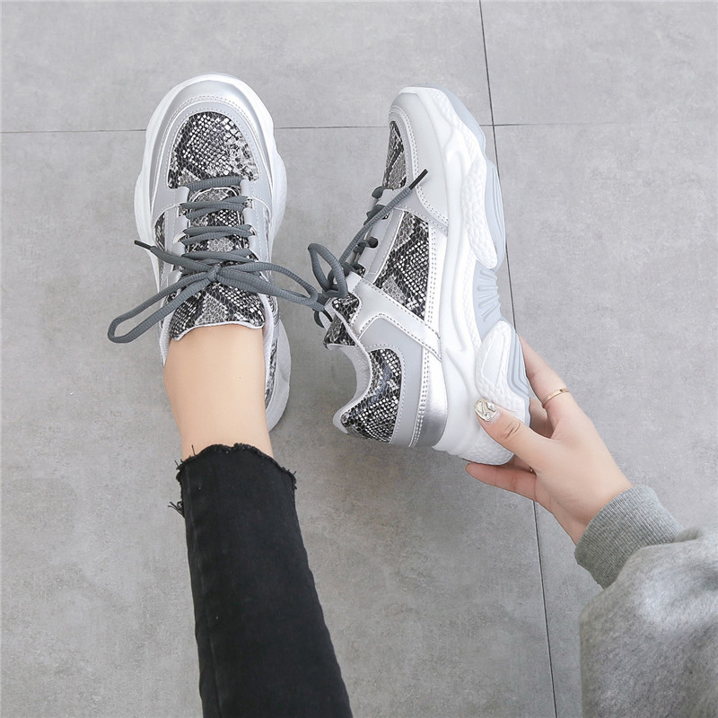 ERNESTNM Leopard Women Sneakers Breathable Mesh Silver Platform Ladies Shoes Knitting Casual Glitter Sequined Chunky Sneakers