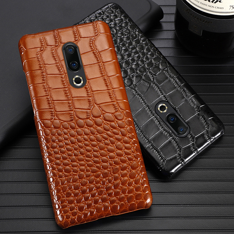 Genuine Leather Phone Case For Meizu 16th Plus 16 16X 17 Pro 7 Plus X8 Cases Luxury Natural Cowhide Crocodile Texture Back Cover