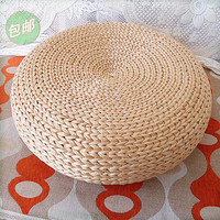 Beach House Woven Wicker Seagrass Low Table Footstool or Ottoman Furniture Piece Round Cushioned Top Stool