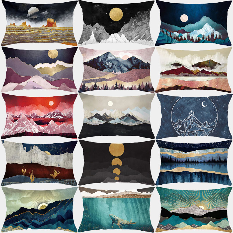 Pillowcase Decorative Cushion Covers 30x50 Mountain Peak Sun Landscape Sofa Cushions Polyester Home Decoration Pillow Covers