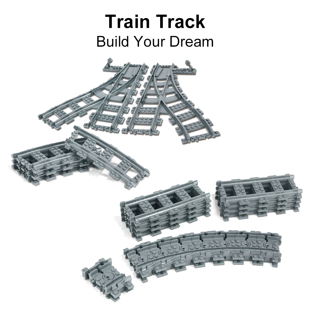 >Flexible Train Railway Fit Trains Rails <font><b>City</b></font> Tracks sets Forked Straight Curved Educational Building Blocks Toys For Kids Gifts