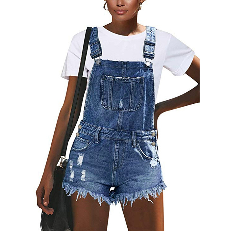 2020 Fashion Sexy Ripped Hole Denim Overalls Women Summer Jumpsuit Female Denim Rompers Playsuit Salopette Straps Shorts Rompers