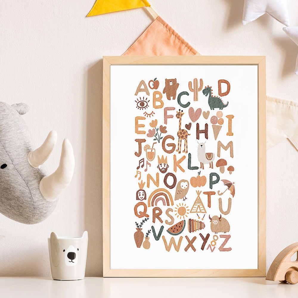 Animal Alphabet Nursery Child Poster Wall Art Canvas Print ...