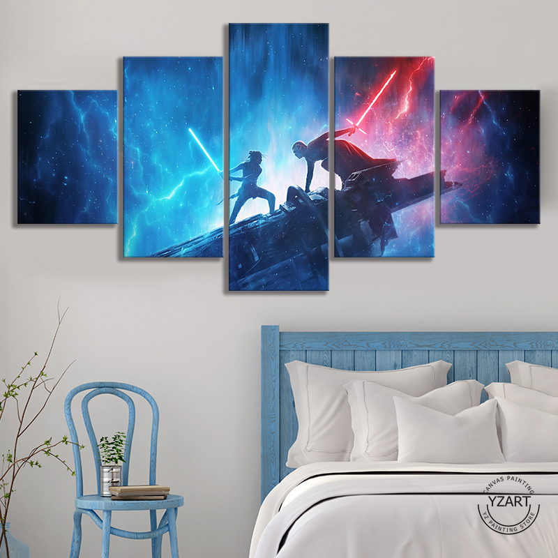 5 Piece Fantasy Art Wall Pictures Star Wars The Rise of Skywalker Video Games Art Wall Decor Paintings Canvas Art Wall Painting image
