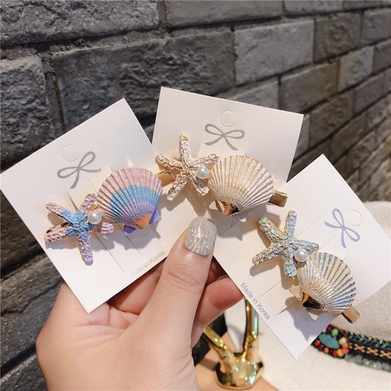 2019 New Korea Style Girl Hair Pins Seaside Vacation Starfish Shell Cute Hair Clips For Women Fashion Hair Accessories