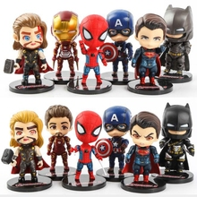Creative Kids 6pcs/ABset Toy Avengers Super Hero Spiderman Mini Iron Man PVC Action Figure Model Toy dolls Hand-made toys gifts pandadomik unique resin large ultron toy figure movie model iron man toy avengers figurine decor gift toys for boys kids hobbies
