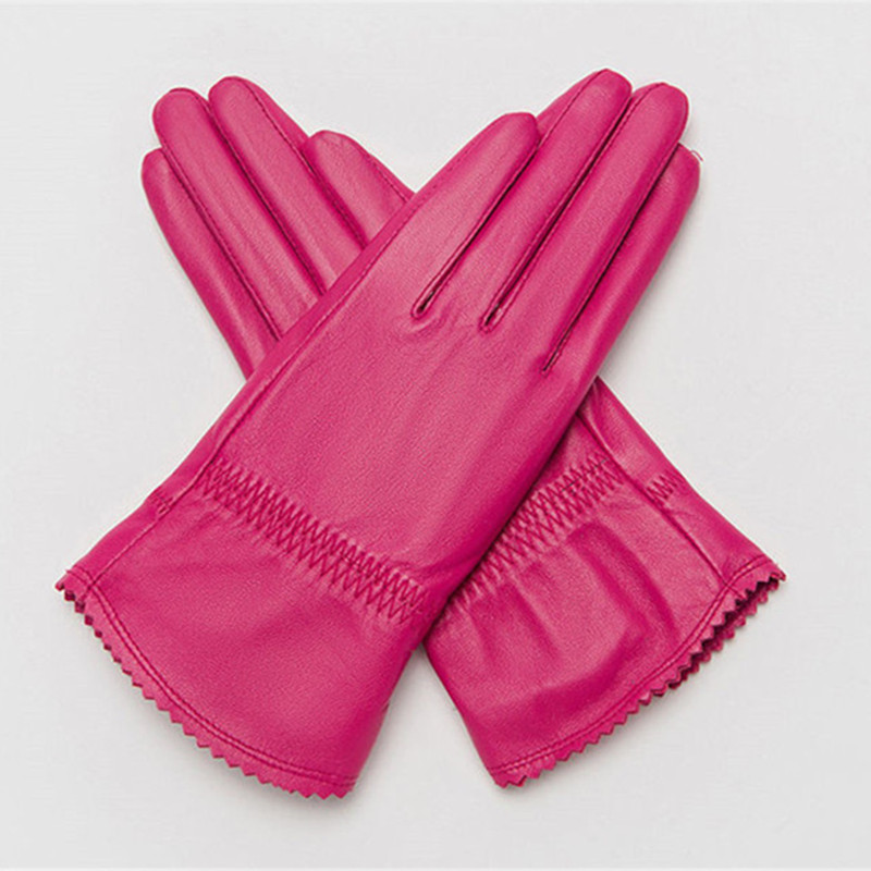Elegant Women Genuine Sheepskin Leather Gloves High Quality Autumn And Winter Plus Velvet Thermal Female Glove