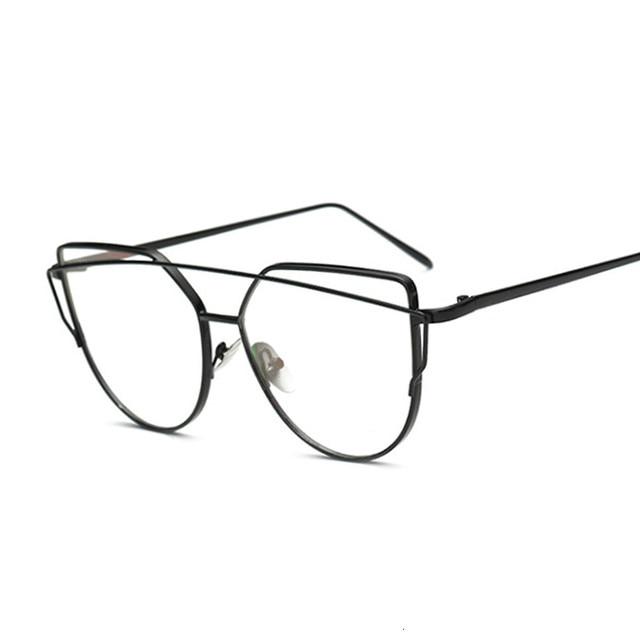 Women Vintage Cateye Eyeglasses Frame Metal Myopia Optical Eyewear Transparent Lens Comfort Light Spectacle