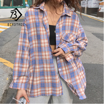 Vintage Plaid Oversized Blouse Shirt 1