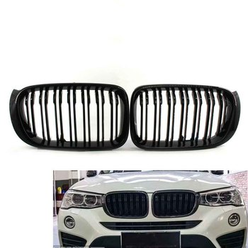 Pair GLOSS BLACK Front Hood Grille Grill FOR BMW F25 LCI X3 F26 X4 SUV 15-17 Double Line 51117338571, 51117338572, 51137367422